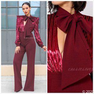 Callie Cranberry Velvet Sequin Big Bow Jumpsuit